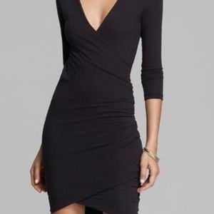 James Perse Skinny Faux Wrap Tuck Dress